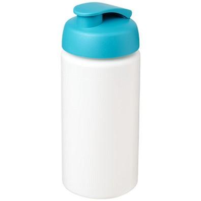Baseline Plus grip Sportflasche mit Klappdeckel, 500 ml, weiss,aquablau