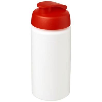 Baseline® Plus grip 500 ml Sportflasche mit Klappdeckel, weiss,rot