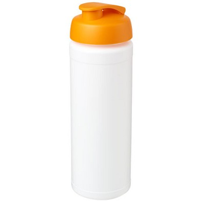 Baseline® Plus grip 750 ml Sportflasche mit Klappdeckel, weiss,orange