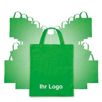 Werbe-Sparset: Baumwolltaschen, 100-tlg., inkl. Druck, kurze Henkel, apfelgrün