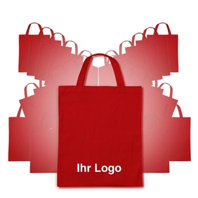 Werbe-Sparset: Baumwolltaschen, 100-tlg., inkl. Druck, kurze Henkel, rot
