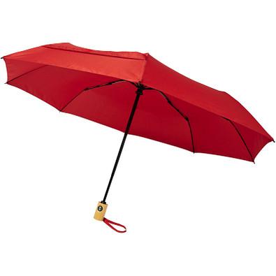 "Bo 21"" Vollautomatik Kompaktregenschirm aus recyceltem PET-Kunststoff, rot"
