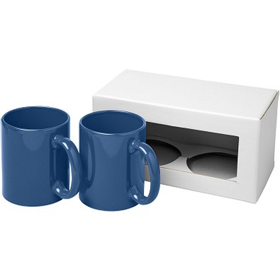 Ceramic Geschenkset mit 2 Bechern, 2x 330 ml, blau