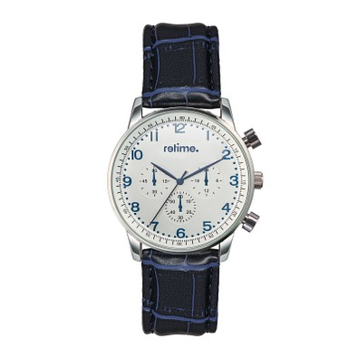 retime® Chronograph Budget II, dunkelblau/silber