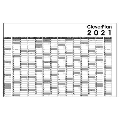 Clever-Plan-Wandplaner 2021, abwaschbar, schwarz/grau
