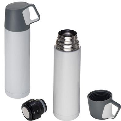Edelstahl-Vakuum-Isolierkanne mit Trinkbecher, 500 ml, weiss