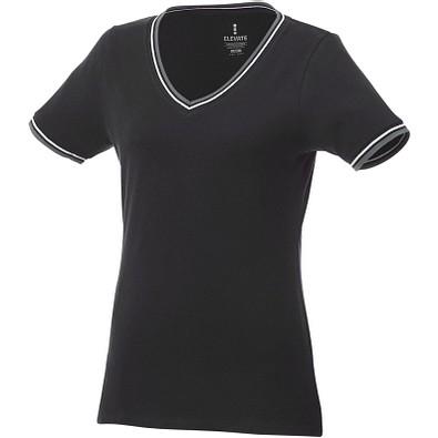 ELEVATE Damen T-Shirt Elbert Piqué, schwarz,grau meliert,weiss, XS