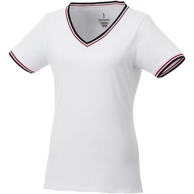 ELEVATE Damen T-Shirt Elbert Piqué, weiß,dunkelblau,rot, XXL