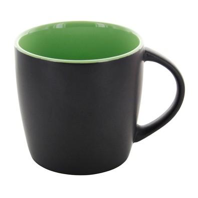 Keramiktasse Emilia, 250 ml, schwarz matt/grün