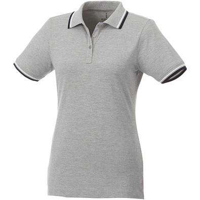 ELEVATE Damen Poloshirt Fairfield mit weißem Rand, grau meliert,dunkelblau,weiss, XL