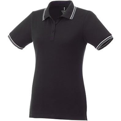 ELEVATE Damen Poloshirt Fairfield mit weißem Rand, schwarz,grau meliert,weiss, S