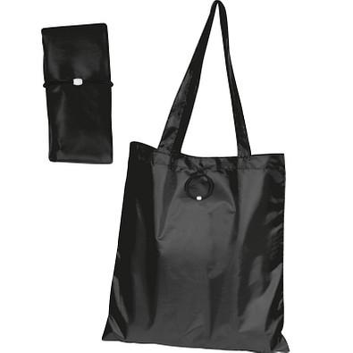 Faltbare Einkaufstasche aus Polyester, schwarz