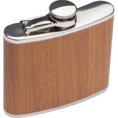 Flachmann aus Edelstahl in Holzdesign Füllvermögen 170 ml, braun