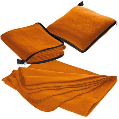 Fleecedecke/-kissen 2 in 1, orange