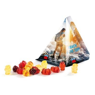 Fruchtsaft Gummibärchen Tetraeder, inkl. Druck, weiße Folie