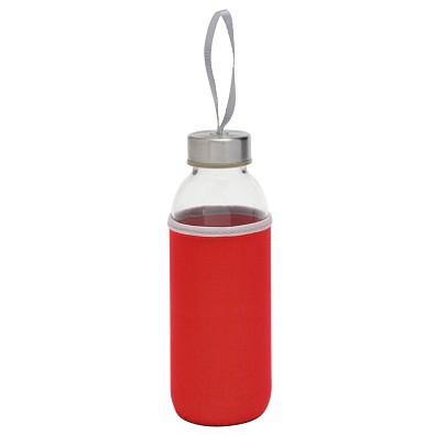 Glasflasche mit Hülle, 450 ml, rot