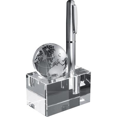 Glas-Schreibgeräthalter mit Weltkugel