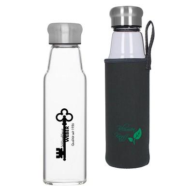 Glasflasche Life mit Hülle, 550 ml, transparent
