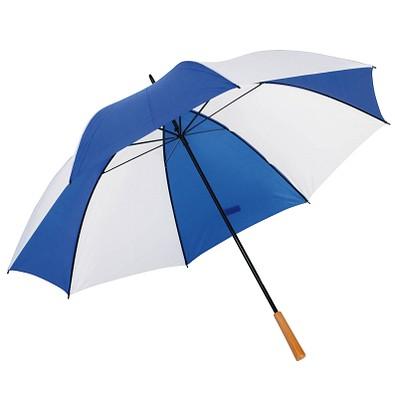 Golfschirm Raindrops, weiß-blau