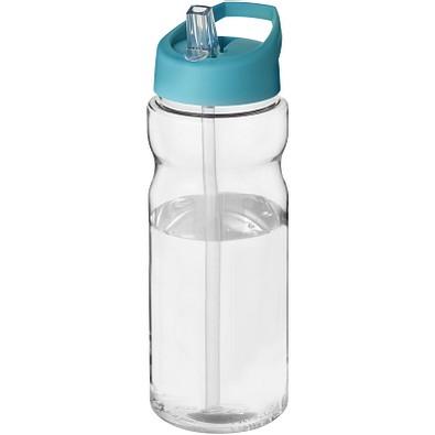 H2O Base Sportflasche mit Ausgussdeckel, 650 ml, transparent,aquablau