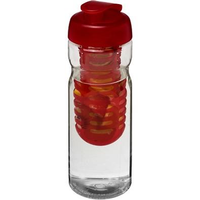 H2O Base Sportflasche mit Klappdeckel und Infusor, 650 ml, transparent,rot