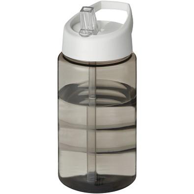 H2O Bop Sportflasche mit Ausgussdeckel, 500 ml, kohle,weiss