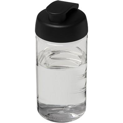H2O Bop Sportflasche mit Klappdeckel, 500 ml, transparent,schwarz