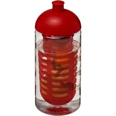 H2O Bop Sportflasche mit Stülpdeckel und Infusor, 500 ml, transparent,rot