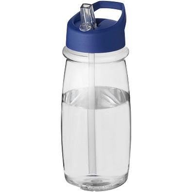 H2O Pulse Sportflasche mit Ausgussdeckel, 600 ml, transparent,blau