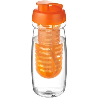 H2O Pulse Sportflasche mit Klappdeckel und Infusor, 600 ml, transparent,orange