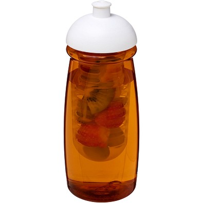 H2O Pulse Sportflasche mit Stülpdeckel und Infusor, 600 ml, transparent orange,weiss