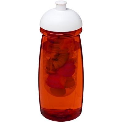 H2O Pulse Sportflasche mit Stülpdeckel und Infusor, 600 ml, transparent rot,weiss