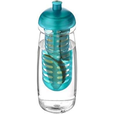 H2O Pulse Sportflasche mit Stülpdeckel und Infusor, 600 ml, transparent,aquablau