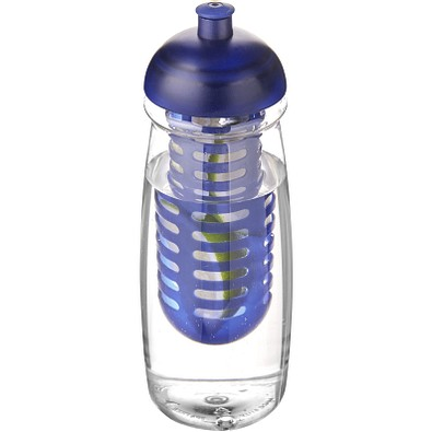 H2O Pulse Sportflasche mit Stülpdeckel und Infusor, 600 ml, transparent,blau