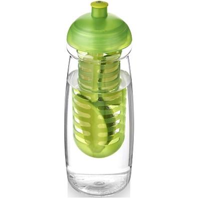 H2O Pulse Sportflasche mit Stülpdeckel und Infusor, 600 ml, transparent,limone