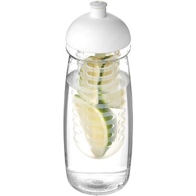 H2O Pulse Sportflasche mit Stülpdeckel und Infusor, 600 ml, transparent,weiss