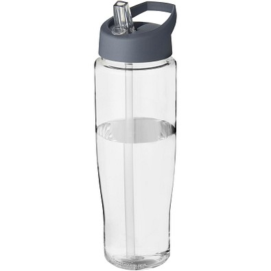 H2O Tempo Sportflasche mit Ausgussdeckel, 700 ml, transparent,Storm Grey