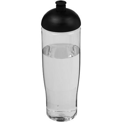 H2O Tempo Sportflasche mit Stülpdeckel, 700 ml, transparent,schwarz