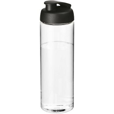 H2O Vibe Sportflasche mit Klappdeckel, 850 ml, transparent,schwarz