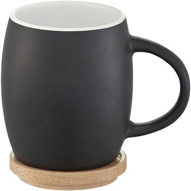 Hearth Keramiktasse mit Holz Deckel Untersetzer, 400 ml, schwarz/weiss