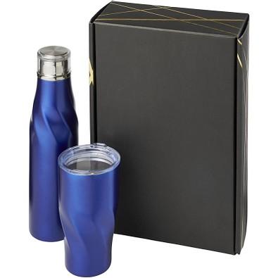 Hugo Kupfer-Vakuum isoliertee Flasche 650 ml und Becher 470 ml Geschenkset, blau
