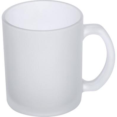 Kaffeetasse weiß gefrostet, 300 ml, transparent