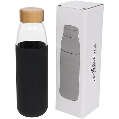 Kai 540 ml Sportflasche aus Glas mit Holzdeckel, schwarz