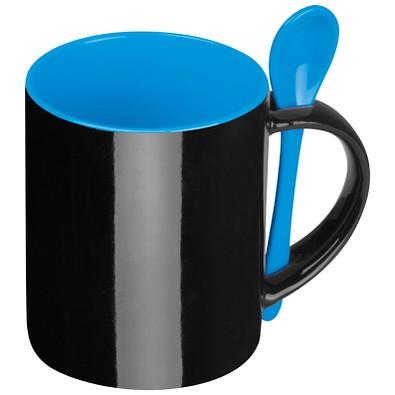Keramiktasse mit Löffel, 300 ml, schwarz/blau