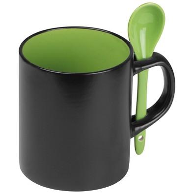 Keramiktasse mit Löffel, schwarz/grün