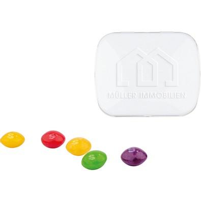 Klapp Dose Skittles Kaubonbons, inkl. Prägung, weiße Dose