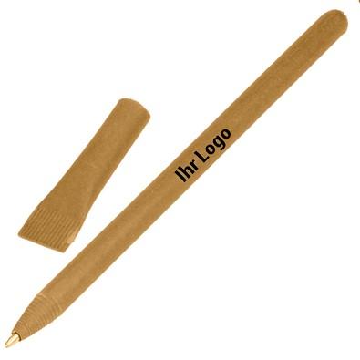 Kugelschreiber aus Papier, blaue Mine, natur