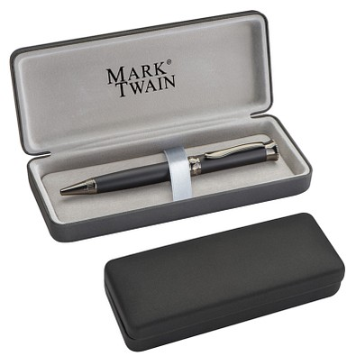Mark Twain Drehkugelschreiber, blaue Mine, dunkel verchromt, schwarz