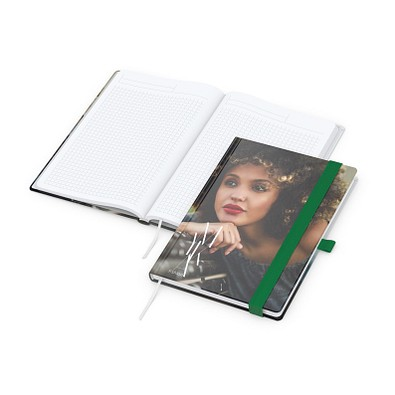 geiger notes Notizbuch Match-Book White A5 Bestseller, gloss, grün
