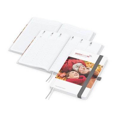 geiger notes Notizbuch Match-Hybrid A5 Bestseller, matt, inkl. Druck, silbergrau